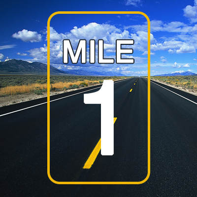 Road with a mile marker